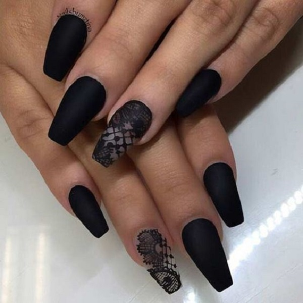 50 coffin nail art designs nenuno creative laced black matte coffin nails lace up your nails with the matte black color and prinsesfo Gallery
