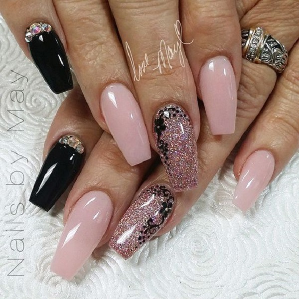 50 coffin nail art designs nenuno creative nud y floral coffin nail art design with black and glitter mac nudes are prinsesfo Image collections