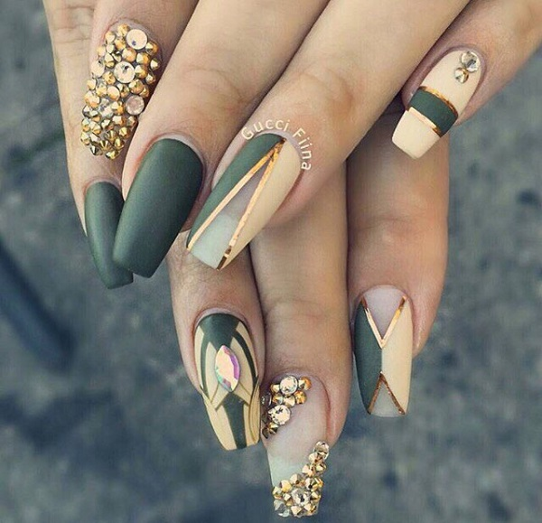 Matte Coffin Nails with White and Rhinestones. This V shaped studded green  and white coffin - 50 COFFIN NAIL ART DESIGNS - Nenuno Creative