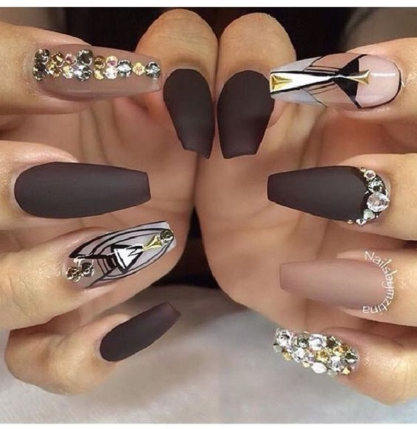 Coffin Nail Designs Diamonds