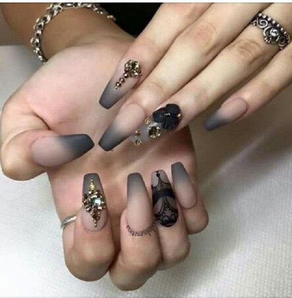 50 coffin nail art designs nenuno creative ombre nude skin and grey studded coffin nails another ombre styled coffin nail art design prinsesfo Image collections