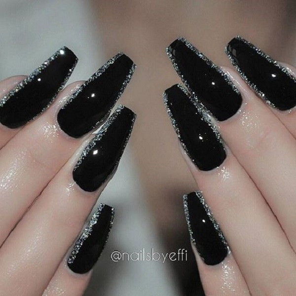 50 coffin nail art designs nenuno creative black glittered coffin nail art design black and silver glitter is love this is prinsesfo Gallery