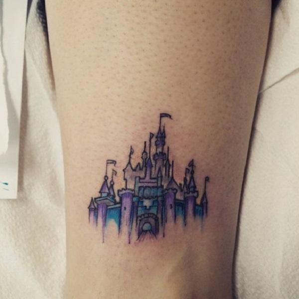 76daf90cc401b Blue and Purple Castle. This unique yet attractive blue and purple castle  tattoo is for