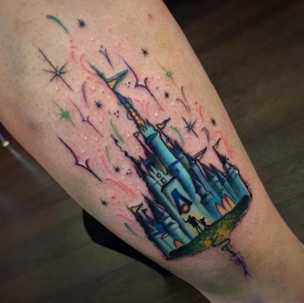 a29d02af3 Cute Blue Castle with King and Princess. If you love this tattoo, you are