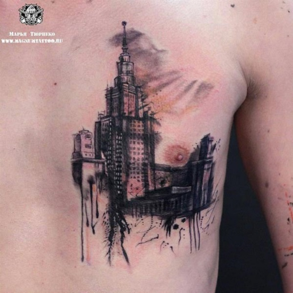 2f113fbc2 Awesome Castle like Building. Get your chest area covered with this awesome castle  tattoo design