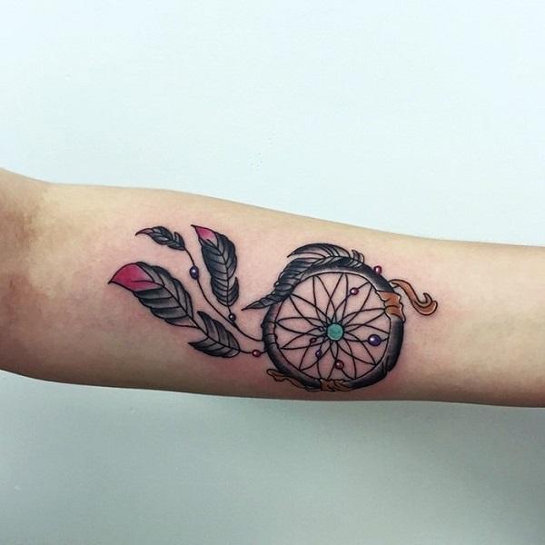 Simple Dream Catcher Tattoos 40 Dreamcatcher Tattoo Designs nenuno creative 22