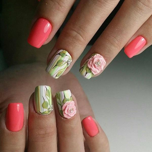 Гофрована рожева троянда на основі зеленої та білої.  Отримайте ваші нігті, прикрашені дивовижним дизайном нігтів, який має білу та зелену основу, з рожевою піднятою різьбою, вишитою на дні, із шпилькою з алмазами.