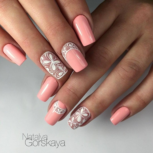 The White and Peach Floral Design. As mentioned, peach is the fire for this - 60 Nail Art Examples For Spring - Nenuno Creative