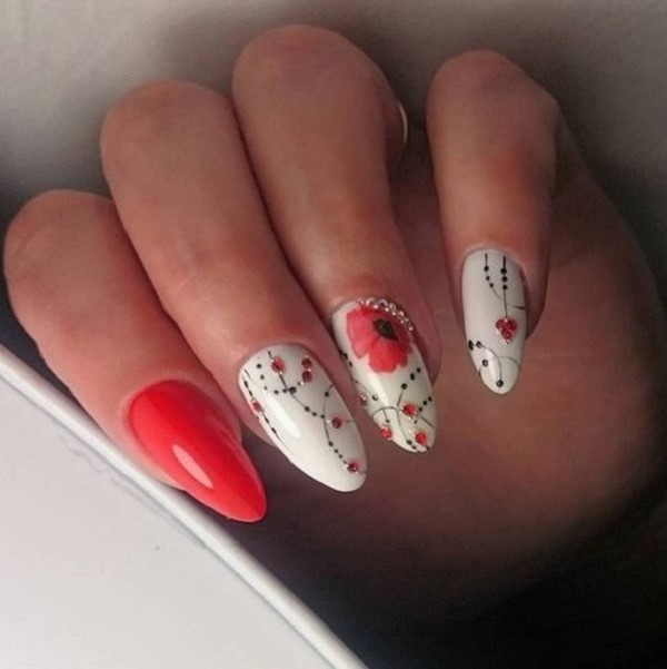 The Red Spring Nail Art. Color-ify your spring with this great combo of - 60 Nail Art Examples For Spring - Nenuno Creative