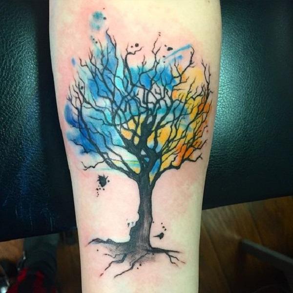 55 tree tattoo designs nenuno creative for Tree of life watercolor tattoo