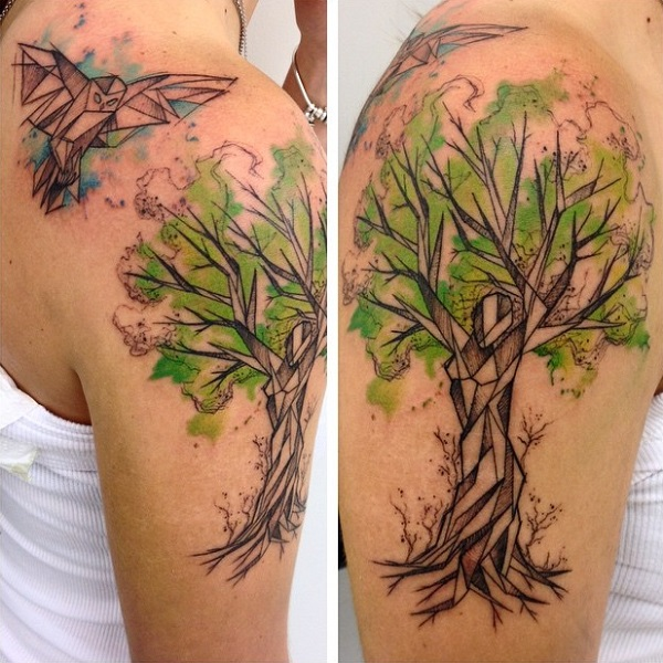 Tree With Origami This Green Bird Makes Another Amazing Tattoo For