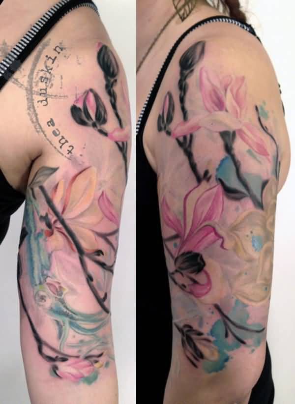 70 magnolia flower tattoo design ideas nenuno creative. Black Bedroom Furniture Sets. Home Design Ideas