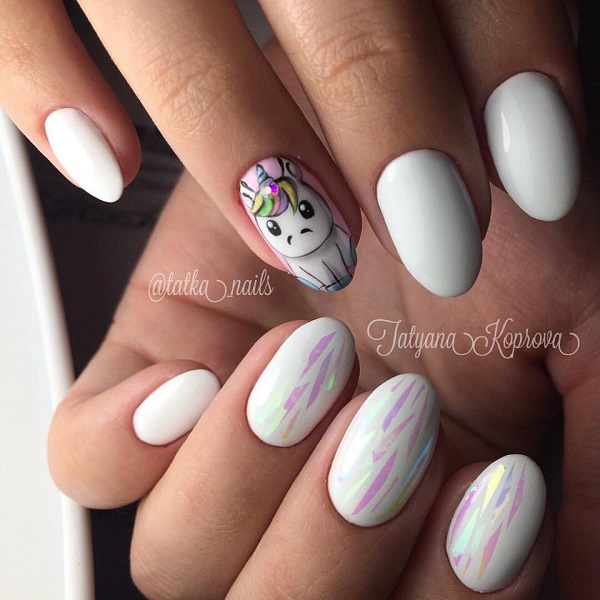 White Cute Unicorn Nail Art Design. For all those girly girls out there,  this - 60 White Nail Art Designs - Nenuno Creative