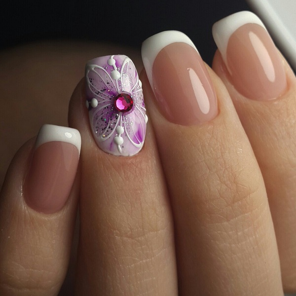 Purple and White Nail Art Design. Spruce up your boring nails with this  addition of - 60 White Nail Art Designs - Nenuno Creative