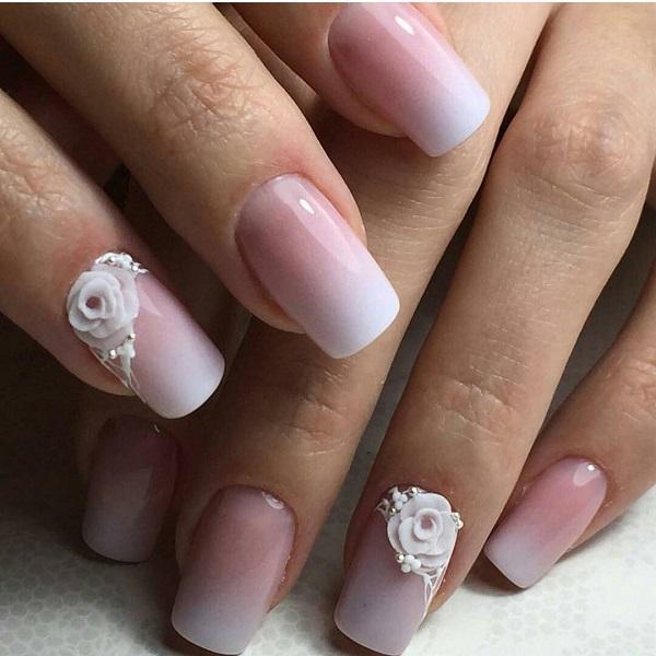 60 white nail art designs nenuno creative ombre white nail art a gradient nail art embossed with white flowers is definitely an mightylinksfo