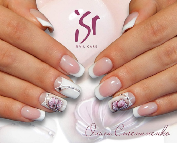 This Double Shaded White Nail Art. Coupling white base with a dull colored  flower is - 60 White Nail Art Designs - Nenuno Creative
