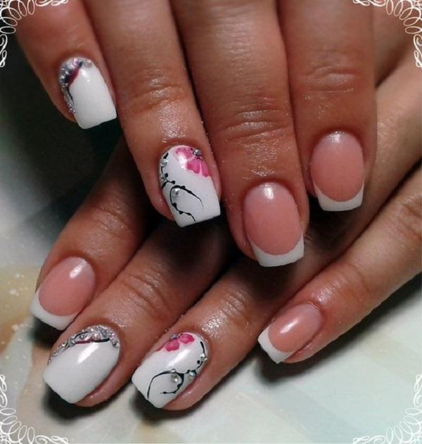 Diamond Studded Pink, Black and White Nail Art. This pretty pink  enhancement to white - 60 White Nail Art Designs - Nenuno Creative