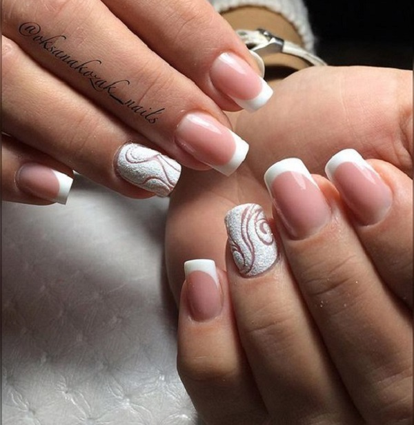 Unique White Glitter Work For Mid Length Nails Is What That Makes Your Look