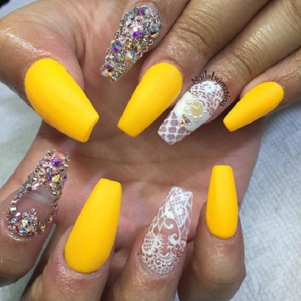 45 Yellow Nail Art Designs