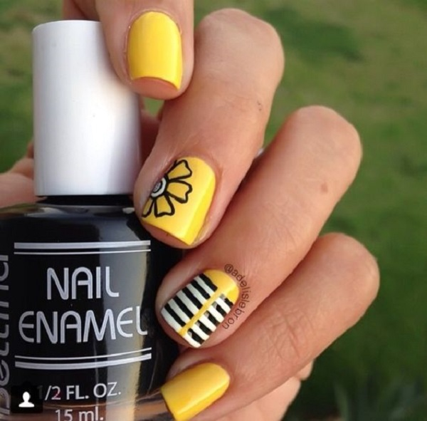 Anime Looking Yellow Nails. If you love something with anime feel, just go  with - 45 Yellow Nail Art Designs - Nenuno Creative