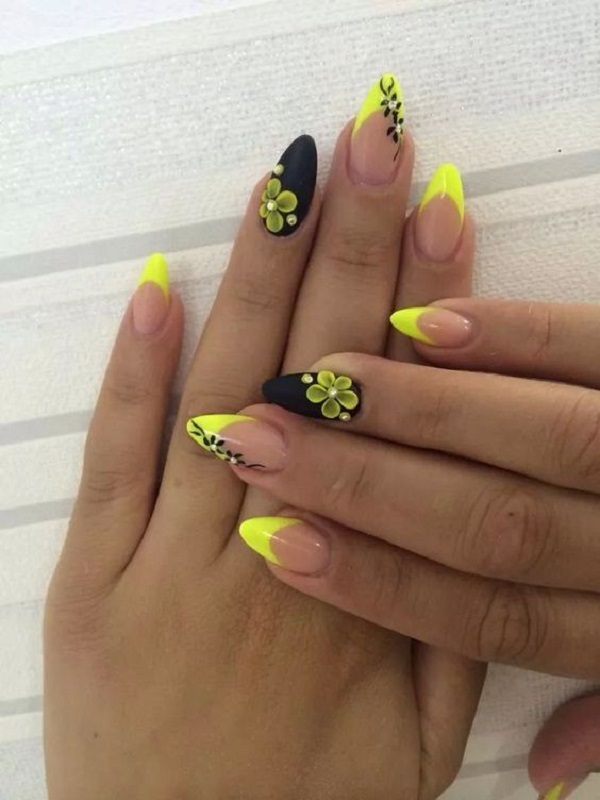 Matte Black And Yellow Themed Nails Nail Colors Are So In Fashion