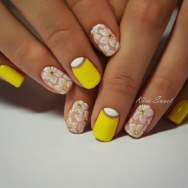 Floral Themed Yellow Nail Art. The one who is looking for an attractive nail  art - 45 Yellow Nail Art Designs - Nenuno Creative