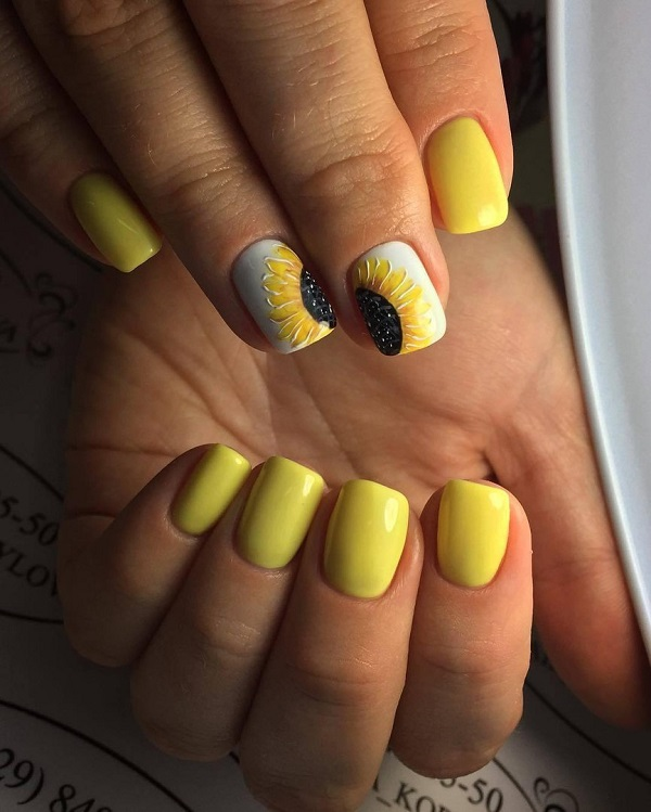 Sun Flower Nail Art Design. Sun flower and yellow, both are associated with  the - 45 Yellow Nail Art Designs - Nenuno Creative