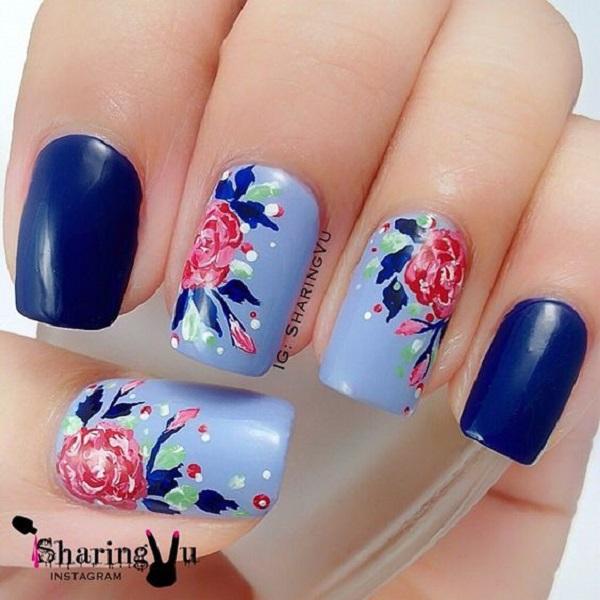 65 blue nail art ideas nenuno creative the blue water colored nail art design this very pretty blue floral nail art design prinsesfo Choice Image