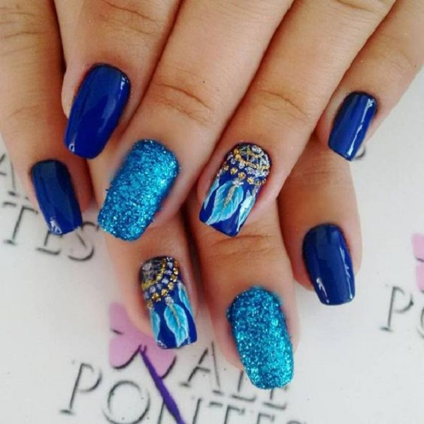 Metallic Glittery Blue Nail Art Design. Metallic colors are always good to  wear and especially - 65 Blue Nail Art Ideas - Nenuno Creative