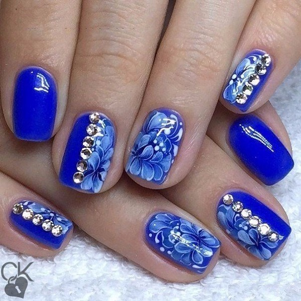 65 blue nail art ideas nenuno creative elegant looking fancy blue nail art idea stud it up add some floras and prinsesfo Image collections