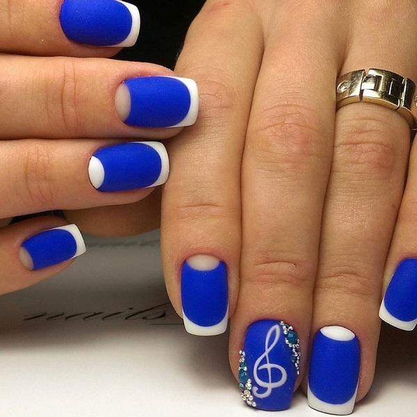 65 blue nail art ideas deutschstylefo the music lover blue french tip nail art design this french tip design in blue is another great addition to our list of the best blue nail art ideas prinsesfo Choice Image