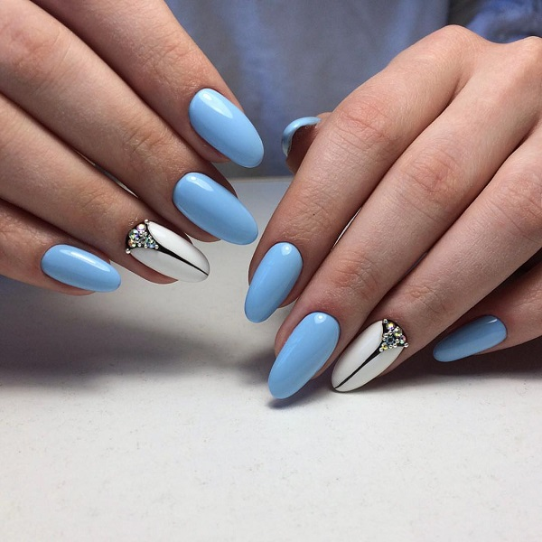 Blue, White and Black Studded Nail Art Design. The blue, black and white - 65 Blue Nail Art Ideas - Nenuno Creative