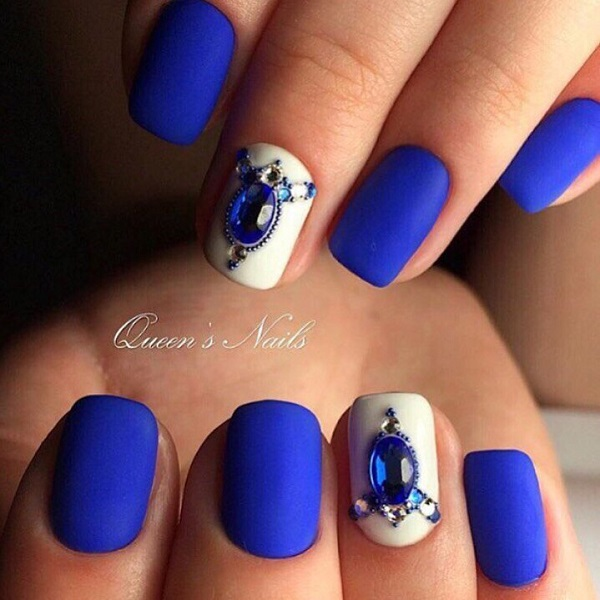 The Matte Blue Nail Art Design. This matte-y blue and white nail art - 65 Blue Nail Art Ideas - Nenuno Creative