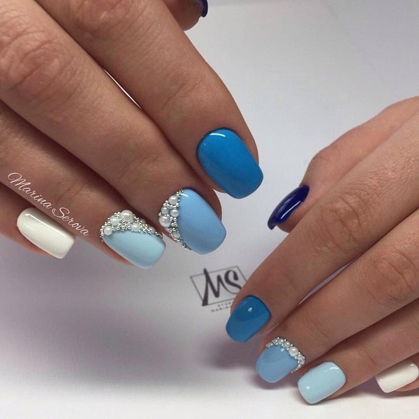 65 blue nail art ideas deutschstylefo all hues of blue studded nail art design grab all your shades of blue white and some studs to get this amazing yet simple to do nail art design prinsesfo Choice Image
