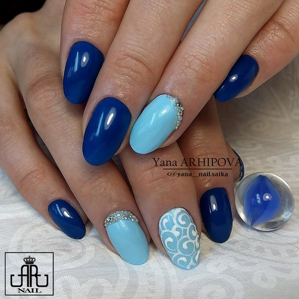 65 blue nail art ideas nenuno creative baby blue nails with shade of metallic blue another perfect blue nail art design for prinsesfo Images
