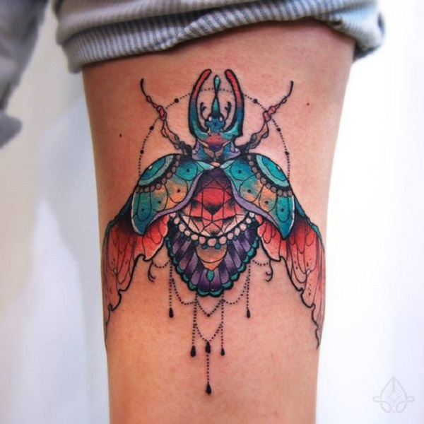 cffc5ffc348ca Open Wing-ed Beetle Tattoo Design. This multi-meaning wing-ed beetle