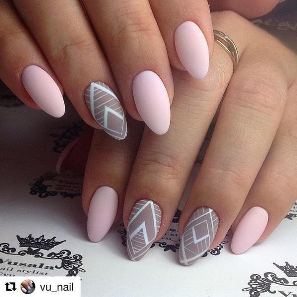 60 geometric nail art ideas nenuno creative matte y nude geometric nail art this nail art is borrowed by vunail prinsesfo Gallery