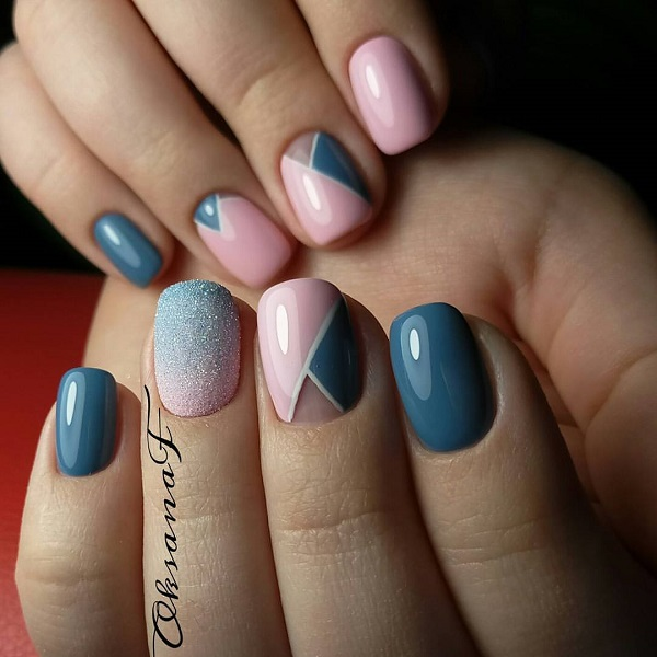 60 geometric nail art ideas nenuno creative mostly pastel colors are used to do geometric nails arts prinsesfo Images