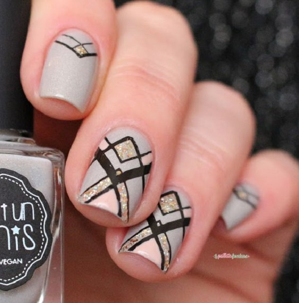 60 geometric nail art ideas nenuno creative accent geometric nail art gray black and gold the amazing colors to wear prinsesfo Images