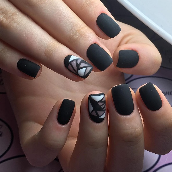 60 geometric nail art ideas nenuno creative matte black and white geo nail art this simple yet attractive matte black geometric nail prinsesfo Images