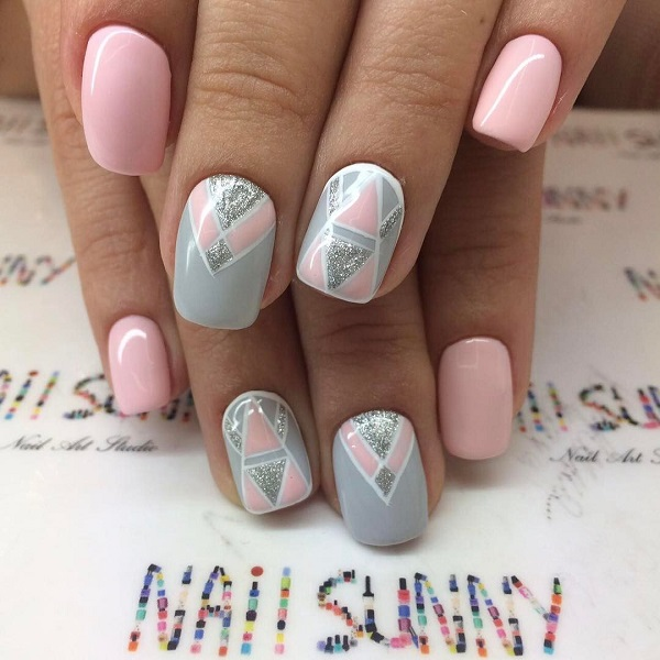 Another Pastel Colored Geometric Nail Art. This pastel nail art design is  meant to add - 60 GEOMETRIC NAIL ART IDEAS - Nenuno Creative