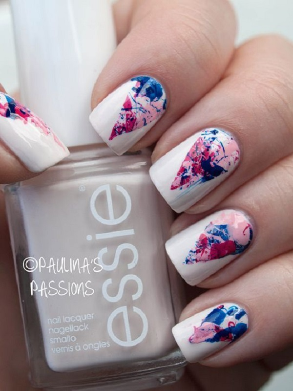 60 geometric nail art ideas nenuno creative the printed triangles over white geometric nail art these printed touch triangles over the white prinsesfo Images