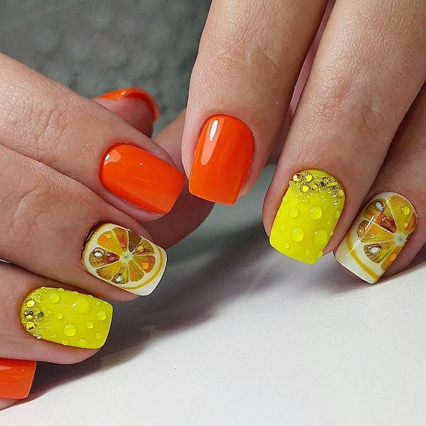 55 summer holiday nail art ideas nenuno creative the citrus squeeze nail art design show your love for citrus fruits with these bright prinsesfo Gallery