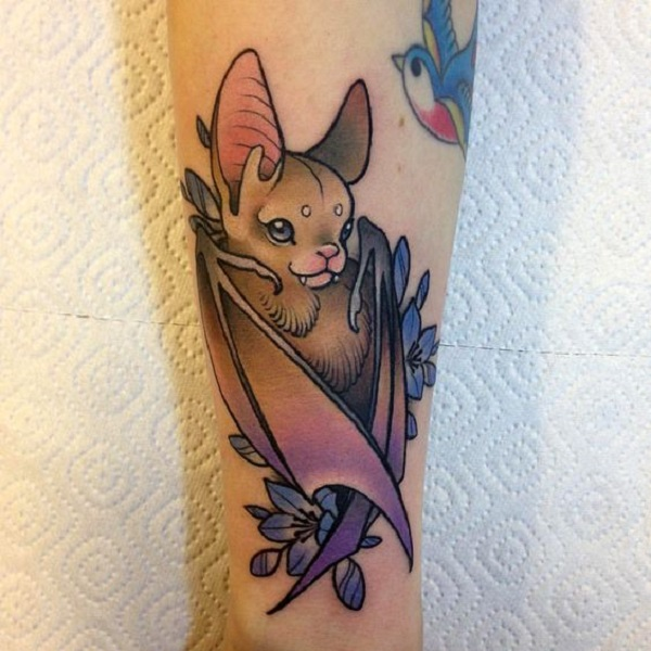 c6340bfd5 Cartoon-ish Bat Tattoo Design. For many, bats are far from evil and